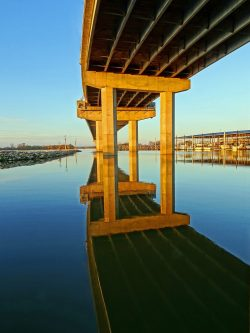 Looking up at the Clark Bridge spanning the Mississippi River at the Alton, Illinois marina.