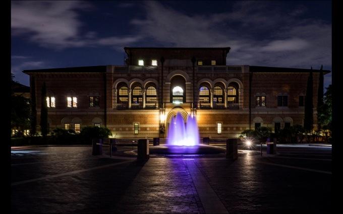 Rice University campus building at Night