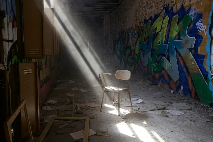 Abandoned school ray of light desk