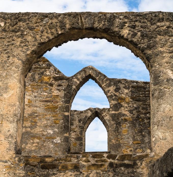 arches Window within window within window at Mission San José y San Miguel de Aguayo in San Antonio, Texas