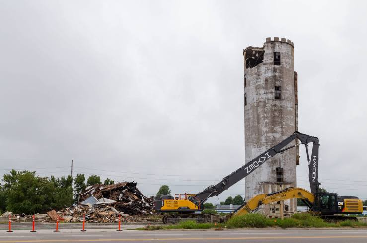 photo abandoned silo being demolished