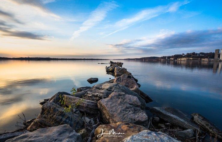 Mississippi River levy at sunset