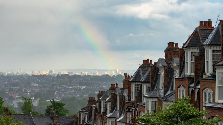 A row of houses in London - rainbow optional for this challenge