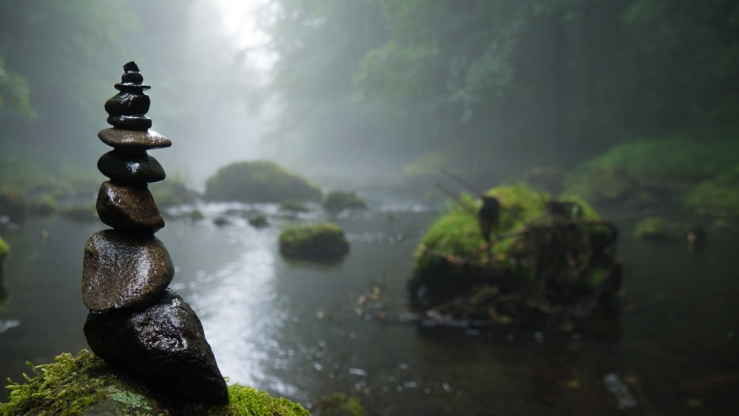 Canva - Cairn, Fog, Mystical, Background, River, Stones, Moss Web