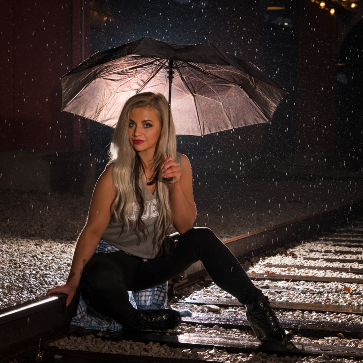 model umbrella rain train tracks
