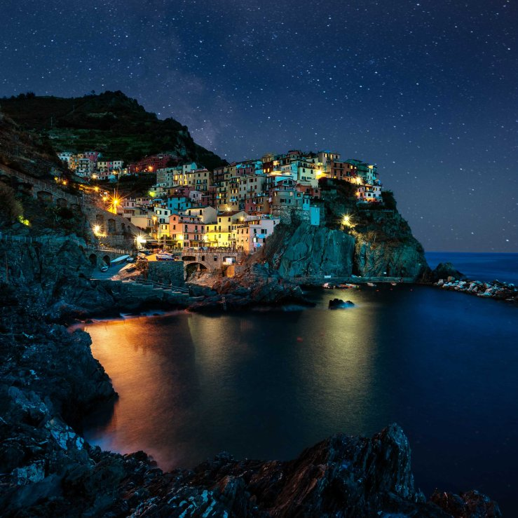 Manarola Italy at night.
